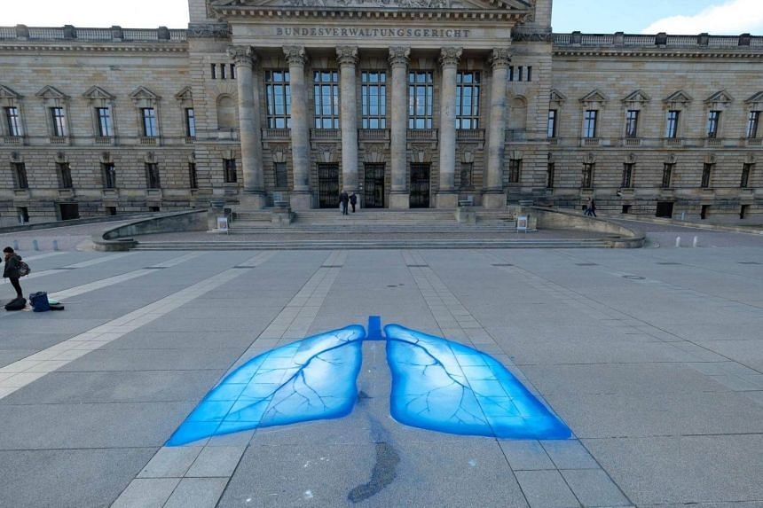 Lungs painted by environmental activists in front of the Federal Administrative Court in Leipzig, eastern Germany on Feb 22, 2018.