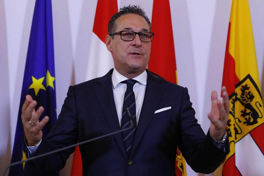 Austria's Vice-Chancellor Heinz-Christian Strache addressing the media after a Cabinet meeting in Vienna, Austria, on Jan 10, 2018.