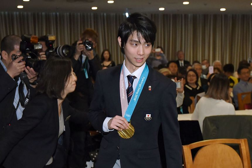 Yuzuru Hanyu leaves the Foreign Correspondents' Club after a press conference in Tokyo, on Feb 27, 2018.
