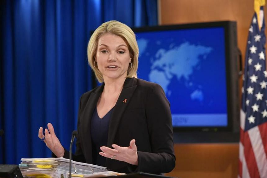State Department Spokesperson Heather Nauert speaks during a briefing at the State Department in Washington, DC on Nov 30, 2017.