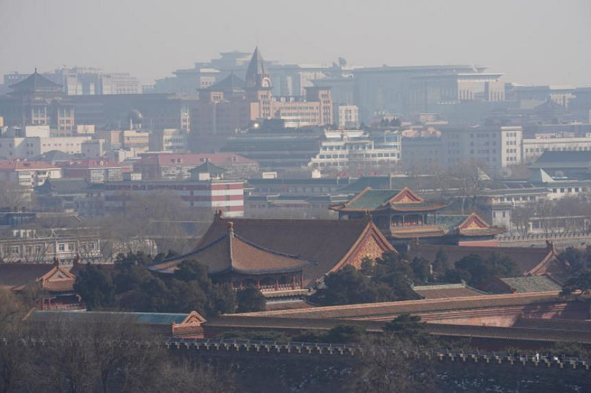 Forbidden City and other buildings amid smog in Beijing, China, on Feb 13, 2018.