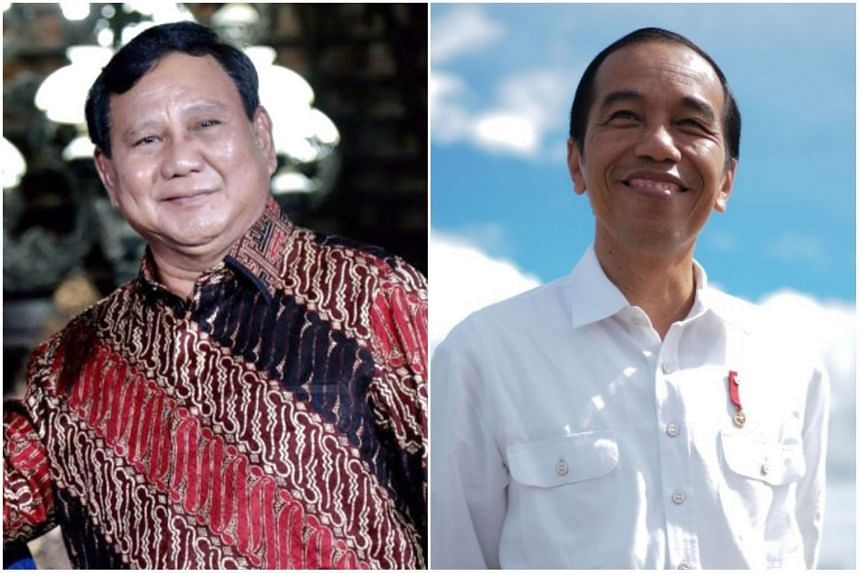 A repeat of the 2014 contest would see Mr Joko Widodo (right) pitted against Prabowo Subianto.