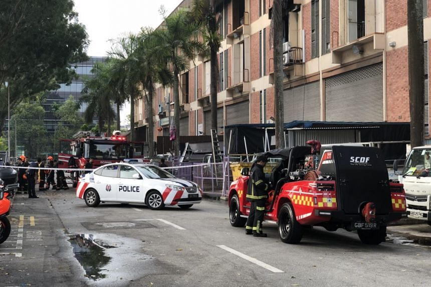 SCDF and police officers were still at the scene at about 8.30am on Feb 27, after a fire broke out at a light industrial building at Ubi Avenue 4.
