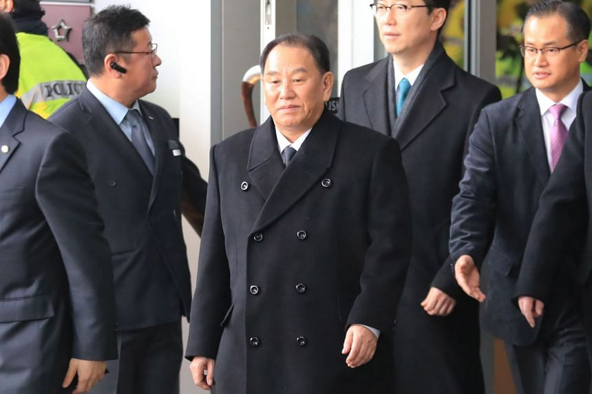 General Kim Yong Chol (centre) leaving a hotel in Seoul on Feb 27, 2018.