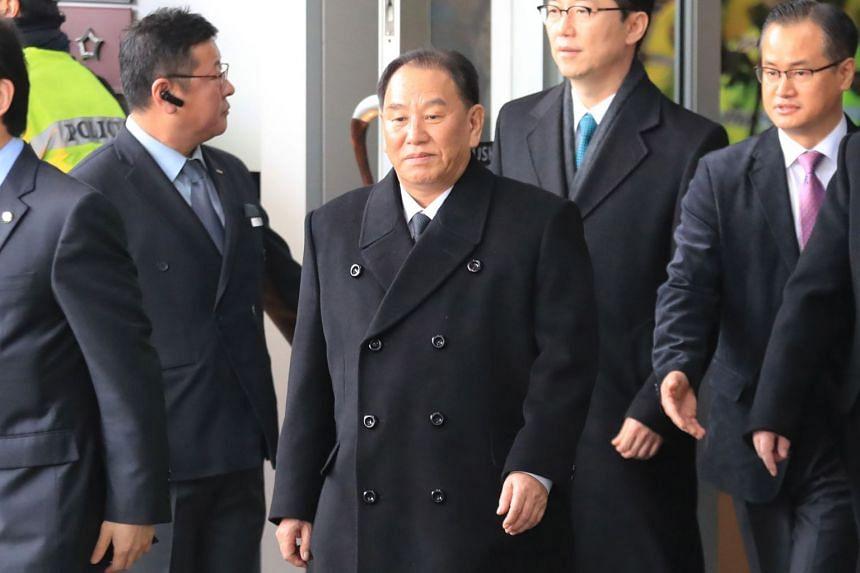 General Kim Yong Chol (centre) leaving a hotel in Seoul on Feb 27, 2018.