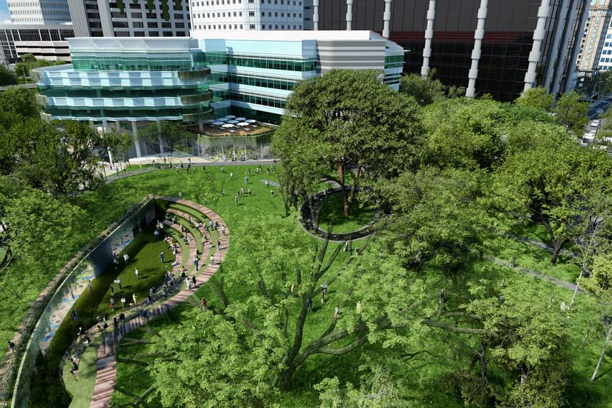 Artist's impression of the co-curricular centre and amphitheatre on the campus green at Singapore Management University (SMU).PHOTO: SMU