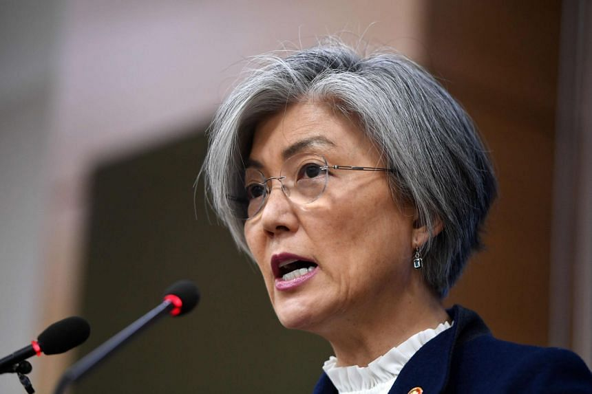 """Kang (above) did not name Japan directly, but called for a """"victim-centered approach"""" to the issue."""