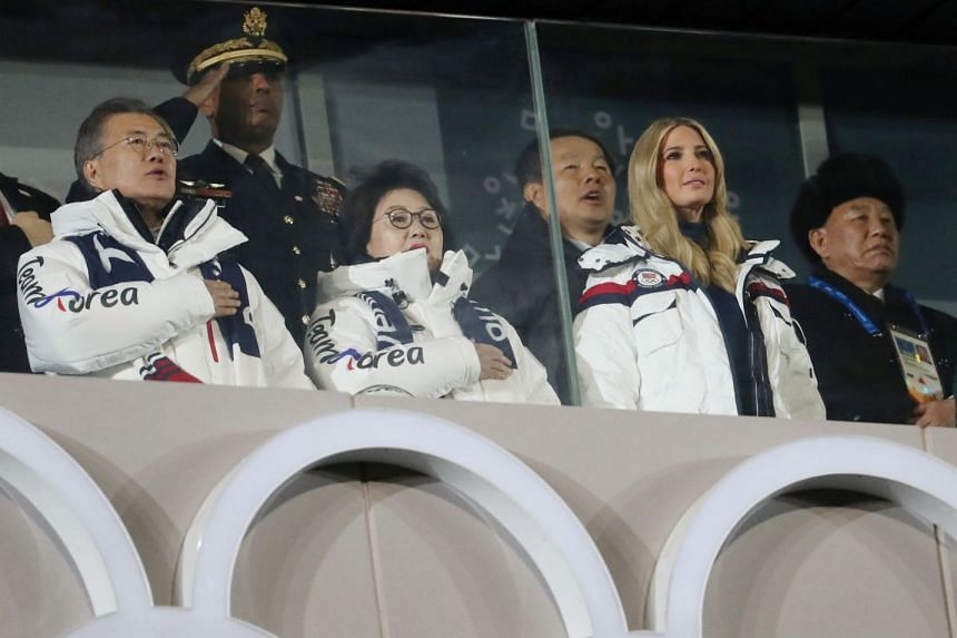(From left) South Korean President Moon Jae In, his wife Kim Jung Sook, senior White House adviser Ivanka Trump and North Korean general Kim Yong Chol attend the closing ceremony of the 2018 Winter Olympics in Pyeongchang on Feb 25, 2018.