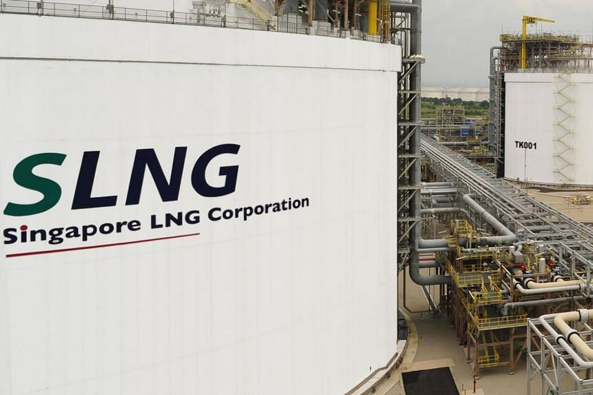 File photo showing an LNG storage tank on Jurong Island in Singapore.