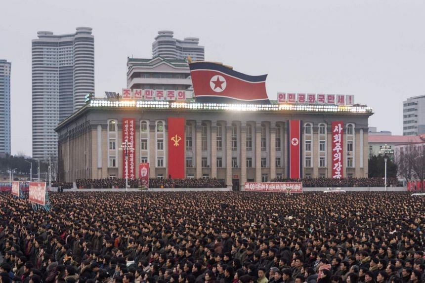 A mass demonstration in support of a new year address made by North Korean leader Kim Jong Un at Kim Il Sung square in Pyongyang on Jan 4, 2018.