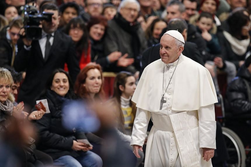 Pope Francis during his weekly general audience in St Peter Basilica at the Vatican, Feb 28, 2018.