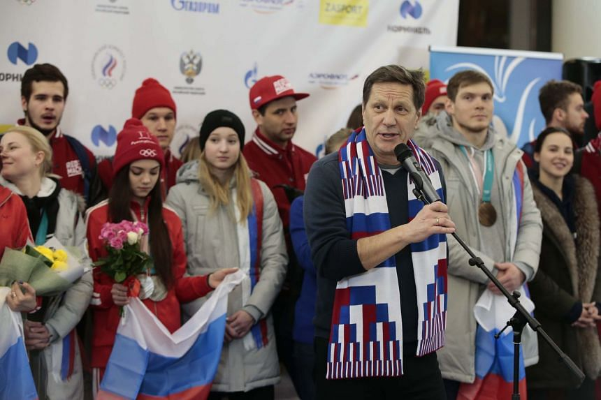 Russian Olympic Committee president Alexander Zhukov delivering a speech during a welcoming ceremony for Russia's athletes returning from the Pyeongchang 2018 Winter Olympics, at Sheremetyevo International Airport on Feb 26, 2018.