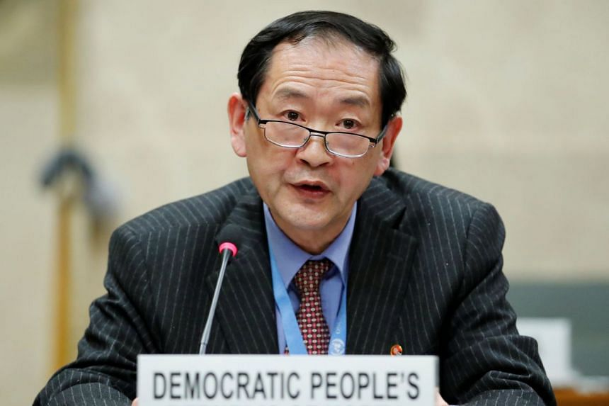 Han Tae Song attending the Conference of Disarmament at the UN in Geneva, Switzerland.