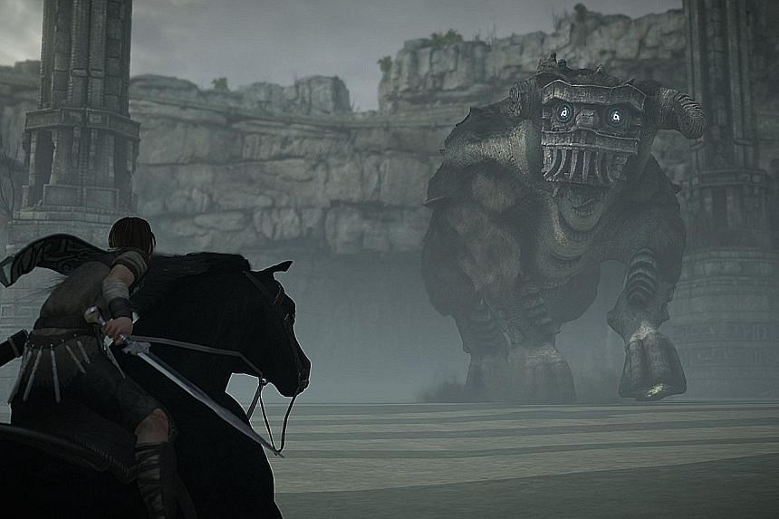Gaming character Wander has to defeat 16 colossi and reclaim their souls.