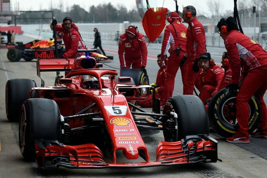 Vettel arrives in the pits at the Circuit de Catalunya on Feb 27, 2018.