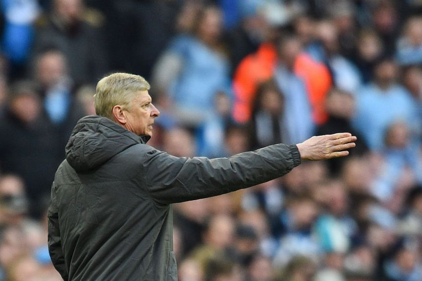Arsenal manager Arsene Wenger gesturing on the sidelines during his team's English League Cup final match against Manchester City, on Feb 25, 2018.
