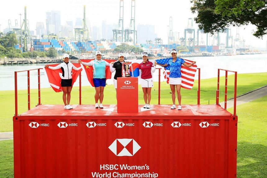 (From left) Hong Kong's Tiffany Chan, China's Feng Shanshan, South Korea's Park In Bee and Ryu So Yeon, and the United States' Lexi Thompson getting ready to tee off at the HSBC Women's World Championship on Thursday.