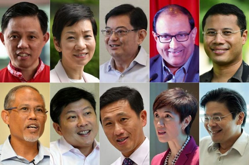 Clockwise from top left: Chan Chun Sing, Grace Fu, Heng Swee Keat, S. Iswaran, Desmond Lee, Lawrence Wong, Josephine Teo, Ong Ye Kung, Ng Chee Meng and Masagos Zulkifli.