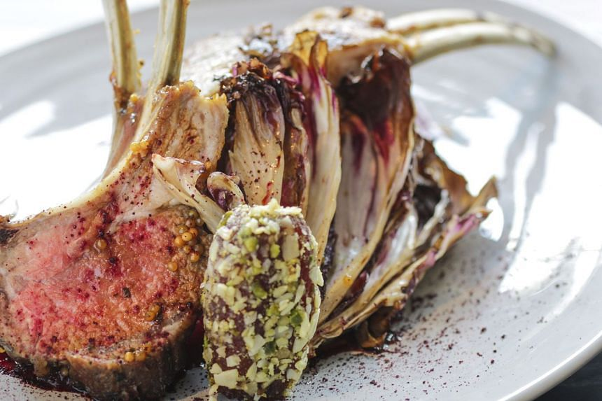 The Australian lamb rack with a beetroot sauce, radicchio and labneh (Greek yogurt cheese) coated in chopped pistachios.