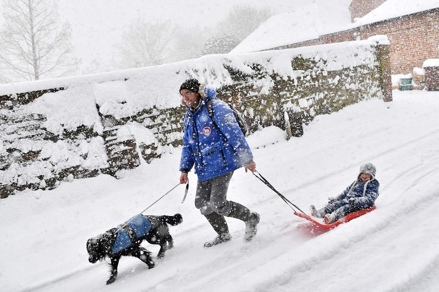A man walks his dog and pulls his child along in a sledge in the falling snow in the village of Brenchley in south-east England on Feb 27, 2018.