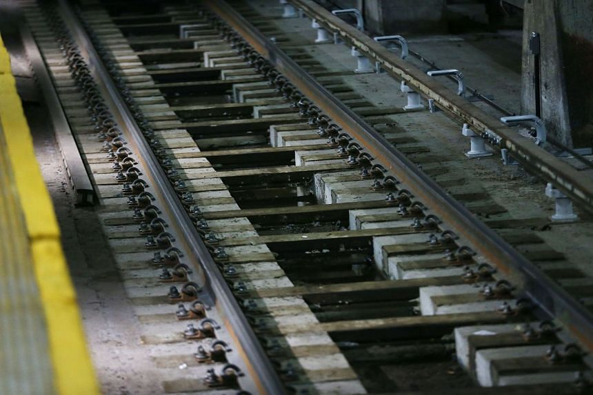 Train tracks seen at a railway station in New York City on Feb 16, 2018.