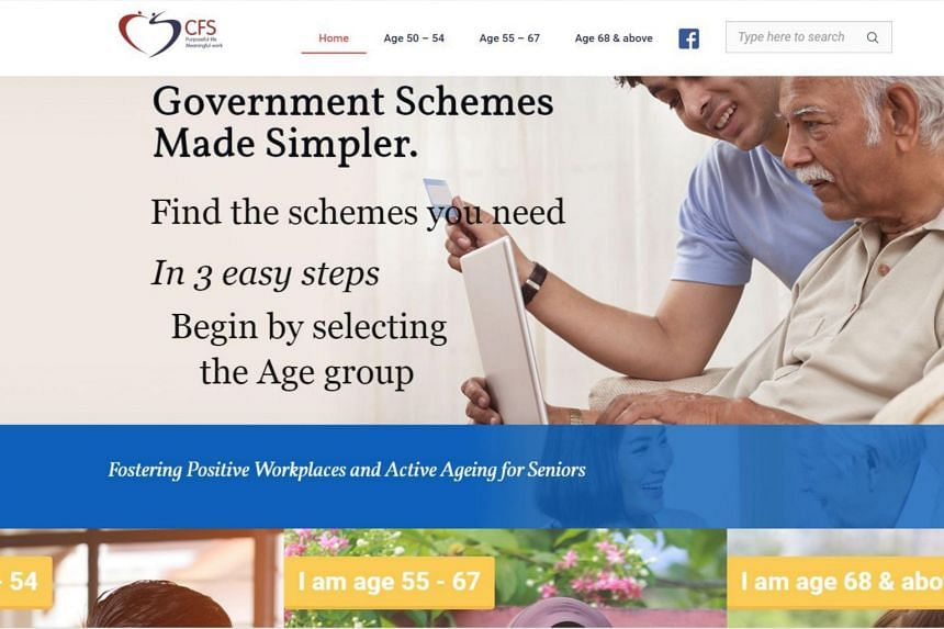 Seniors can choose from three age groups to view a list of schemes available to them.