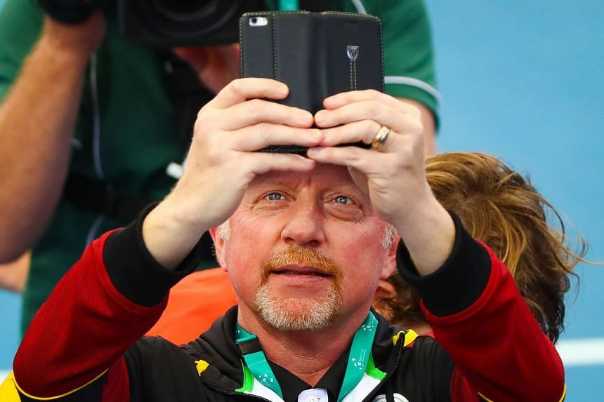 Becker taking a picture of Zverev in action against Nick Kyrgios of Australia  in Brisbane on Feb 4, 2018.