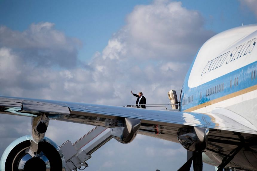 Donald Trump boarding Air Force One in Florida, on Feb 19, 2018.