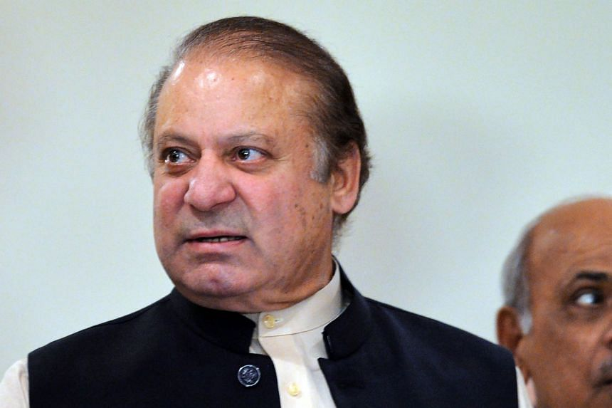 Pakistani ousted prime minister Nawaz Sharif leaves after a press conference in Islamabad on Sept 26, 2017.
