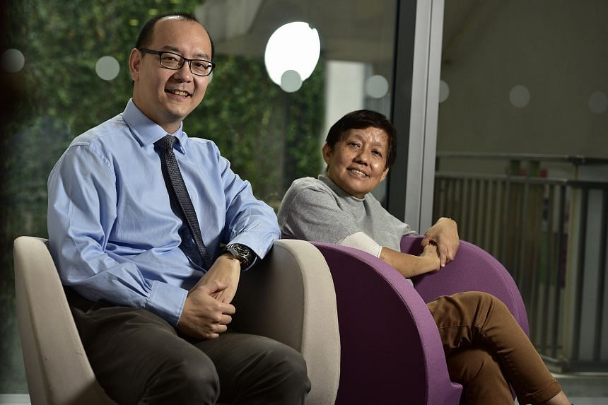 Professor Chng Wee Joo, director of the National University Cancer Institute, Singapore, and Madam Oh Hwee Hong, who is taking part in a trial for the myeloma drug carfilozomib.