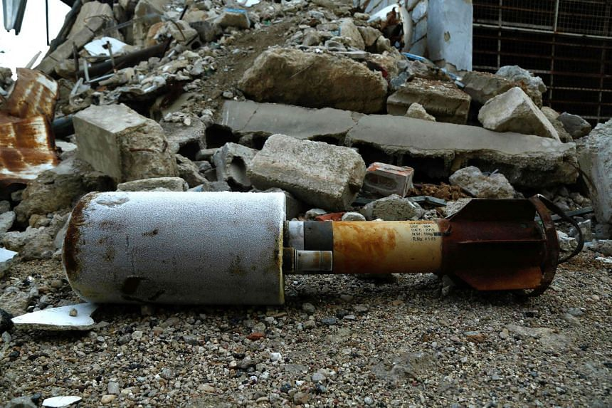 A close-up of an empty rocket reportedly fired by regime forces on the rebel-held besieged town of Douma in the eastern Ghouta region on the outskirts of the capital Damascus on Jan 22, 2018.