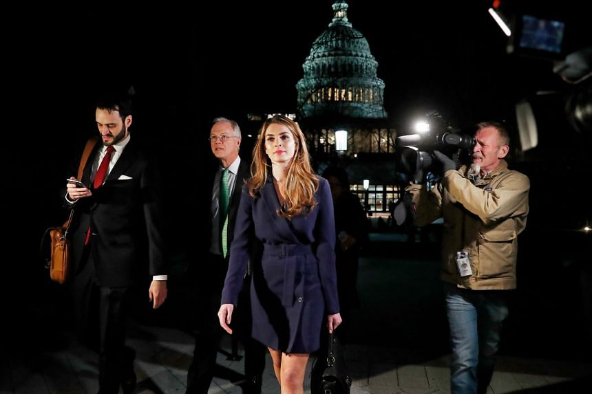 Hope Hicks leaves the US Capitol after attending the House Intelligence Committee closed-door meeting.