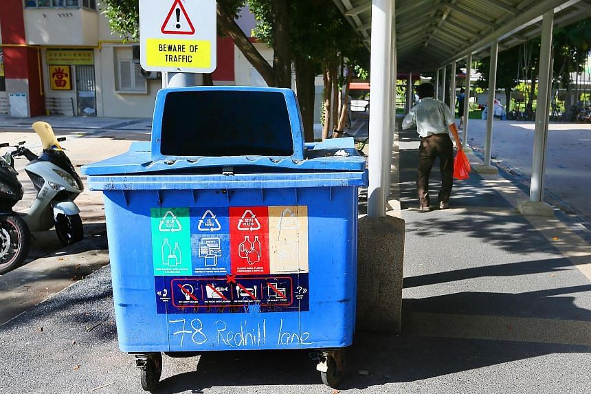Since 2014, every HDB block has been provided with a blue recycling bin - up from one bin for every five blocks. That year, the Government also announced that all new public housing projects will be fitted with recycling chutes with throw points on e