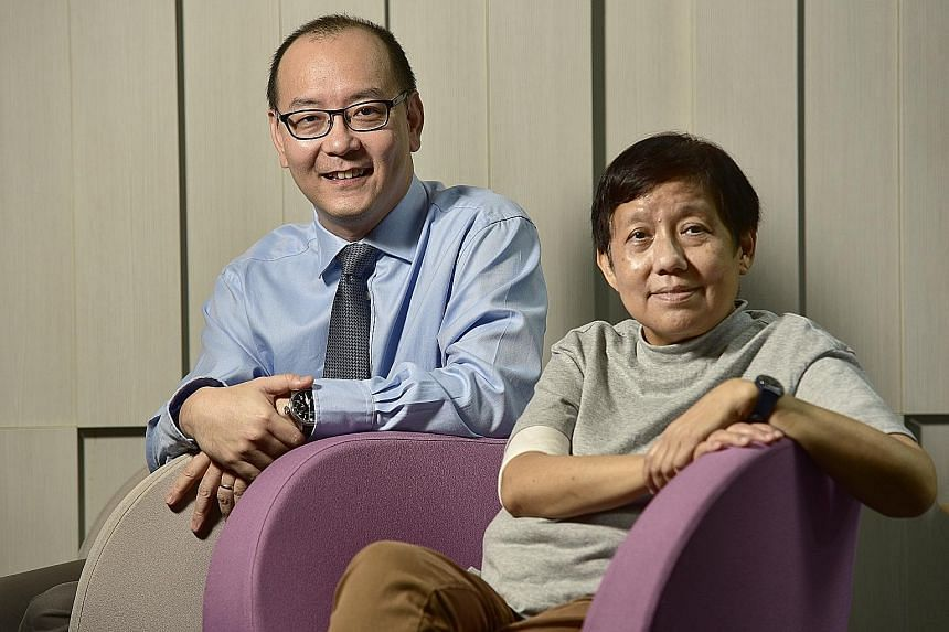 Professor Chng Wee Joo with Madam Oh Hwee Hong, 64, a retired library officer, who was diagnosed with myeloma in 2015. The National University Cancer Institute has seen a spike in new myeloma cases here, with 39 patients diagnosed with the disease la
