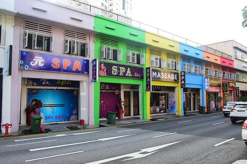 A row of spas and massage parlours in Lavender Street. The tighter restrictions are the latest provisions under the new Massage Establishments Act, which was passed in November last year to crack down on vice activities, and goes into force today.