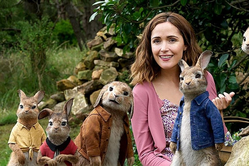 Rose Byrne, the crush of Mr McGregor the farmer, and the realistically rendered rabbits in Peter Rabbit.