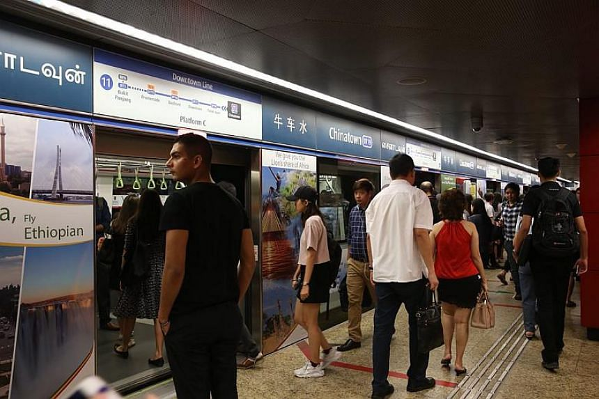 The crowd at Chinatown station started to ease at about 9.45am on March 1, 2018. Free passing bus services were available earlier at the station.