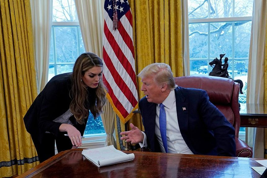 US President Donald Trump speaking with Hope Hicks during an interview at the White House on Jan 17, 2018.