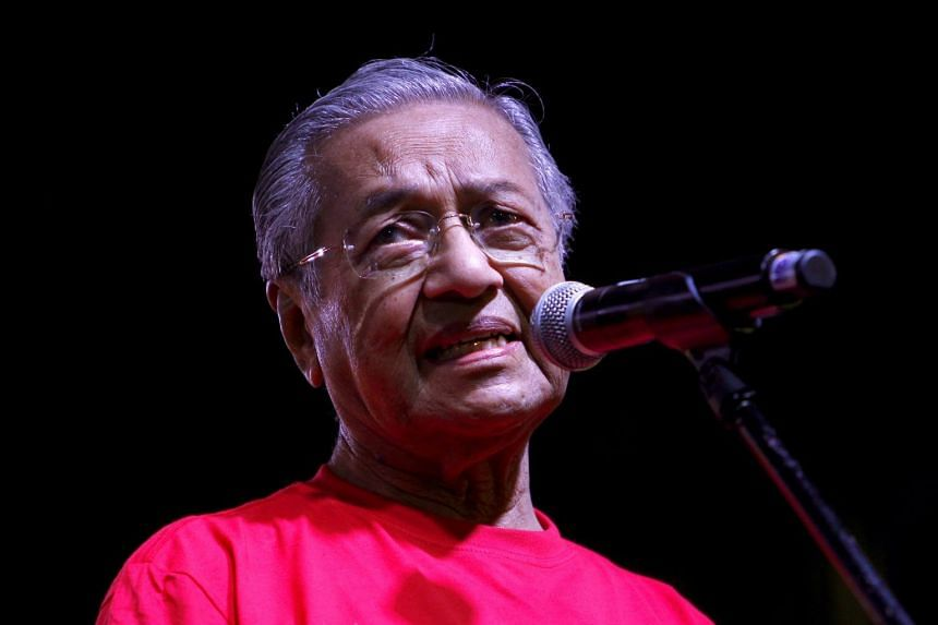 Former Malaysian prime minister Mahathir Mohamad speaking at a rally in Petaling Jaya, near Kuala Lumpur, on Oct 14, 2017.