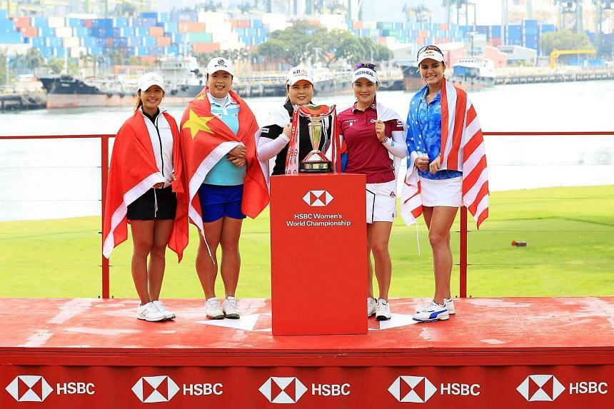 (From left) Tiffany Chan, Shanshan Feng, Inbee Park, So Yeon Ryu and Lexi Thompson.