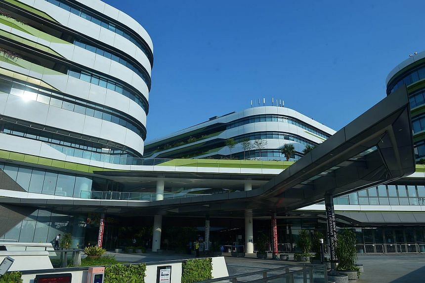 An exterior view of the Singapore University of Technology and Design campus located in Changi.