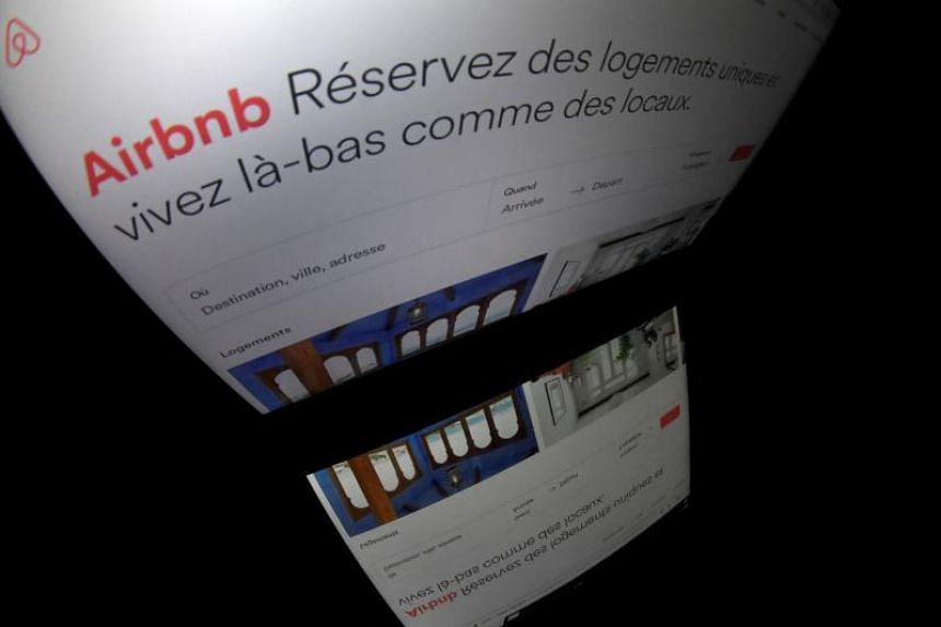 The logo of online lodging service Airbnb displayed on a computer screen in Paris on March 2, 2017.