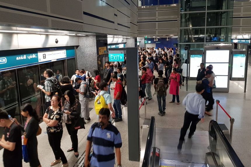 Commuters at Kaki Bukit MRT at about 8.35am on March 1, 2018.