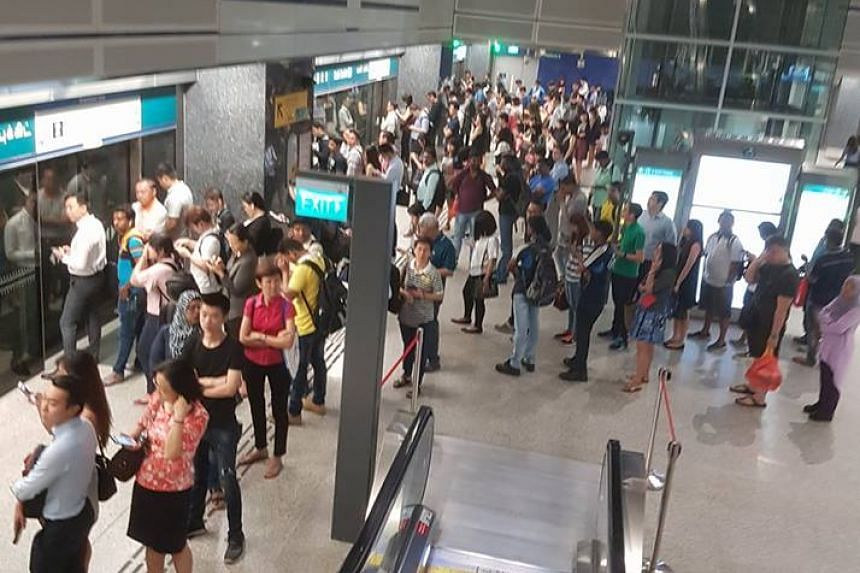 Commuters at Kaki Bukit MRT at about 8.40am on March 1, 2018.