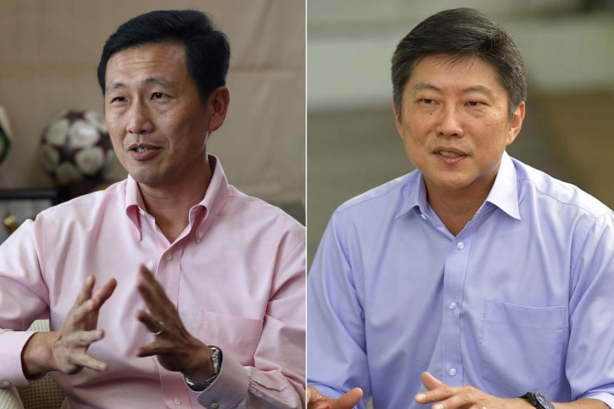 """Finance Minister Heng Swee Keat said in a slip of the tongue that Education Ministers Ng Chee Meng (right) and Ong Ye Kung are """"continuing to build on the work of previous finance ministers"""" to improve prospects for Singaporean students."""