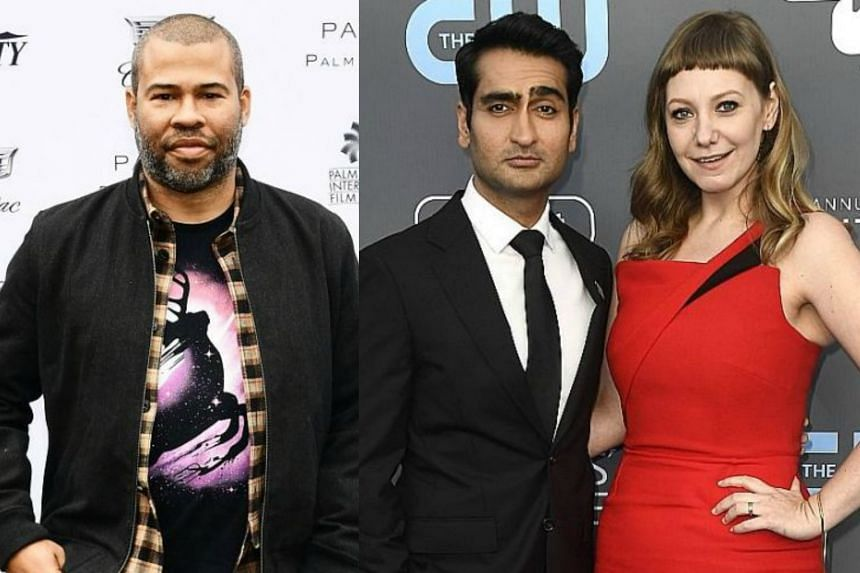 (From left)  Jordan Peele, nominated for Best Picture, Best Director and Best Original Screenplay, Kumail Nanjiani and Emily Gordon, nominated for Best Original Screenplay.