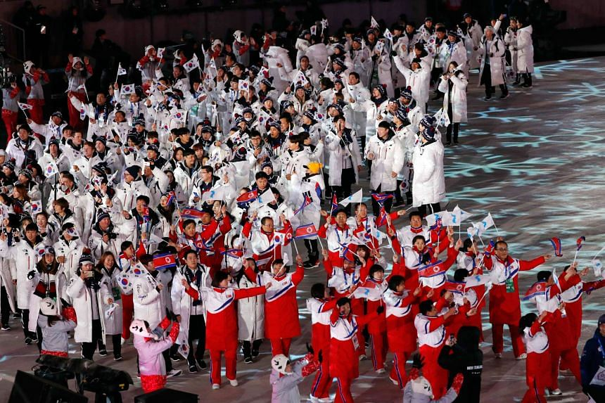Athletes from the two Koreas at the closing ceremony of the Pyeongchang 2018 Winter Olympics on Sunday.