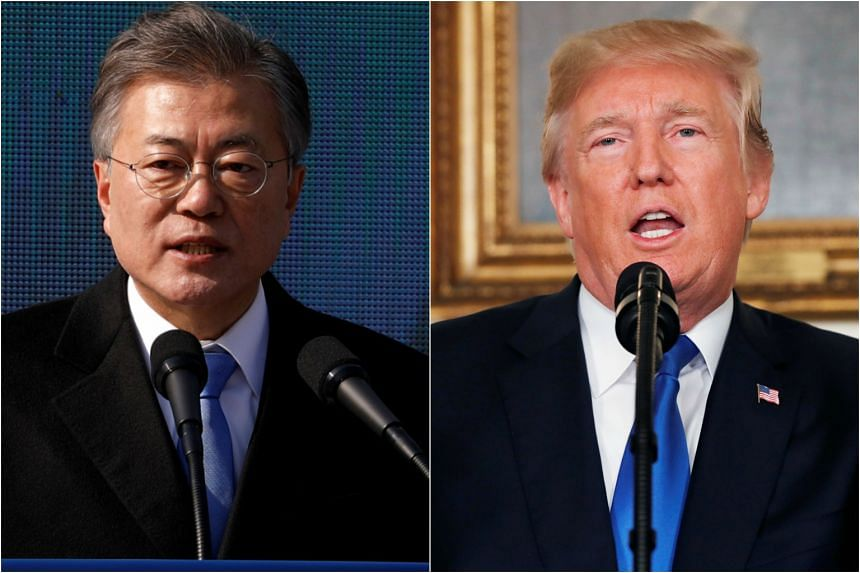 (From left)  South Korea's President Moon Jae In and  US President Donald Trump.
