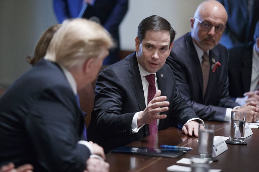 US Senator Marco Rubio (centre) at a meeting in the White House with bipartisan congressmen to discuss school and community safety on Feb 28, 2018.