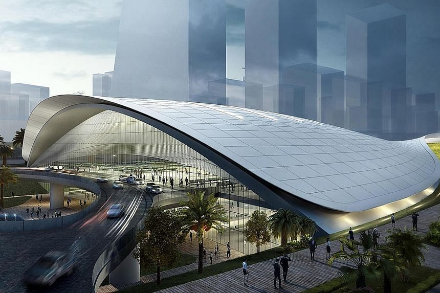"""An artist's impression of the proposed Kuala Lumpur-Singapore High Speed Rail (HSR) terminal in Jurong East. Dr Vivian Balakrishnan said long-term strategic projects like the HSR service """"give us all a greater stake in each other's success, and demon"""